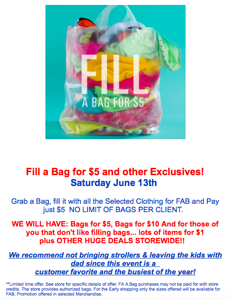 Children's Orchard graphic with shopping bag and text that says fill a bag for $5