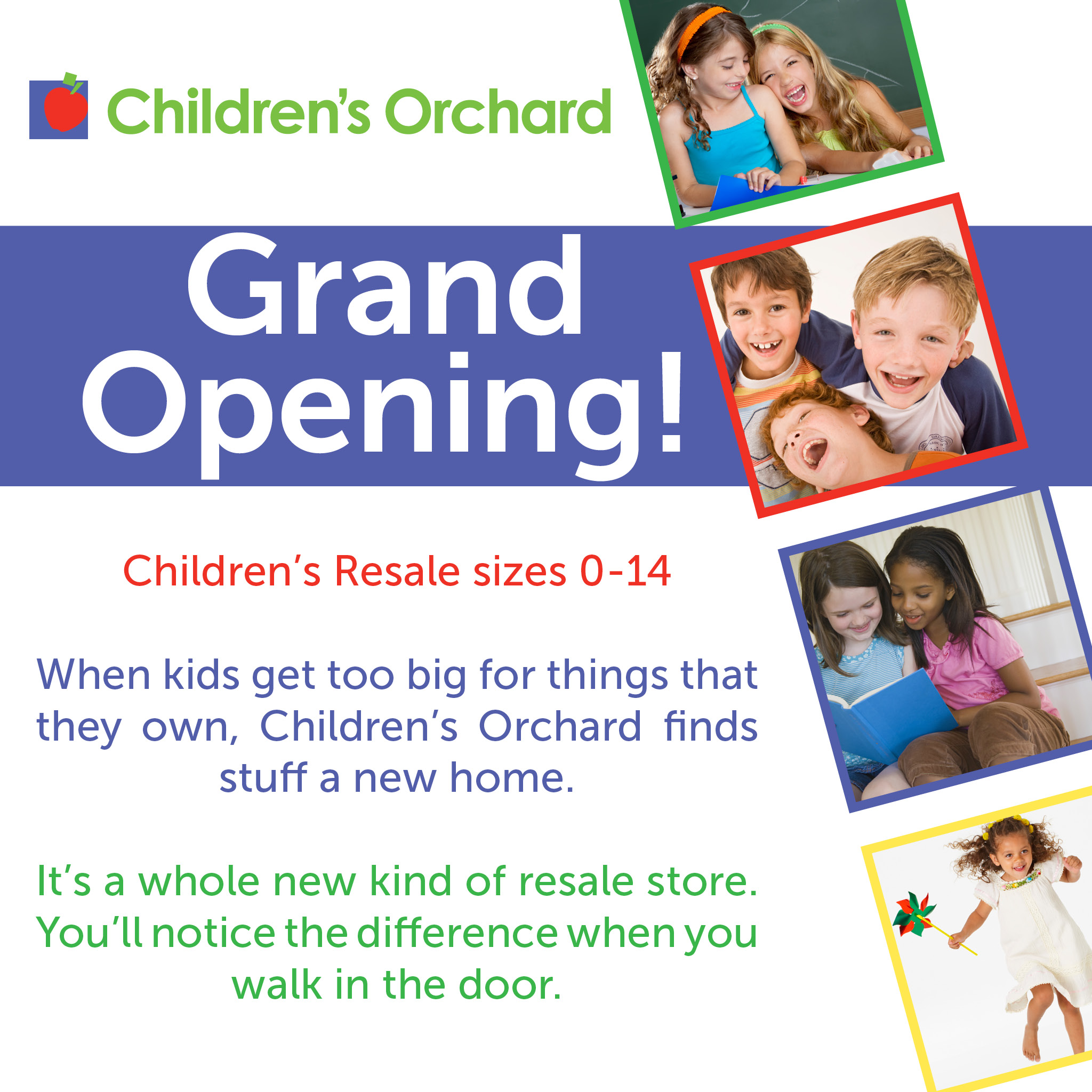 Children's Orchard graphic with kids and text that says grand opening